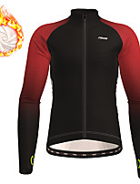cheap -21Grams Men's Long Sleeve Cycling Jersey Winter Fleece Polyester Black Purple Red Gradient Bike Jersey Top Mountain Bike MTB Road Bike Cycling Thermal Warm Fleece Lining Breathable Sports Clothing