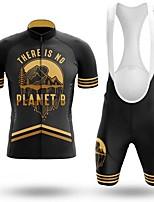 cheap -Men's Short Sleeve Cycling Jersey with Bib Shorts Black / Yellow Bike Breathable Sports Mountain Bike MTB Road Bike Cycling Clothing Apparel / Triathlon