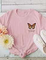 cheap -Women's T-shirt Butterfly Letter Print Round Neck Tops 100% Cotton Basic Basic Top White Yellow Blushing Pink