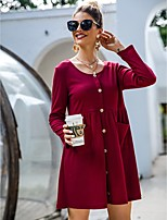 cheap -Women's A-Line Dress Short Mini Dress - Long Sleeve Solid Color Pocket Button Spring Fall Casual Loose 2020 Wine S M L XL