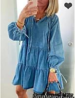 cheap -Women's A-Line Dress Short Mini Dress - Long Sleeve Solid Color Ruffle Patchwork Spring Fall V Neck Casual Slim 2020 Light Blue S M L XL XXL