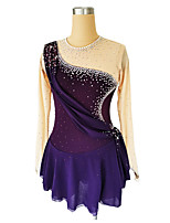 cheap -Figure Skating Dress Women's Girls' Ice Skating Dress Violet Glitter Patchwork Spandex High Elasticity Competition Skating Wear Handmade Crystal / Rhinestone Long Sleeve Ice Skating Figure Skating