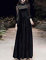 cheap -A-Line Glittering Vintage Wedding Guest Formal Evening Dress High Neck Long Sleeve Floor Length Velvet with Sequin 2020