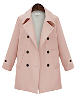 cheap -Women's Fall & Winter Double Breasted Coat Regular Solid Colored Daily Basic Blushing Pink Navy Blue Beige M L XL XXL