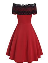 cheap -Women's Sheath Dress Knee Length Dress - Short Sleeve Color Block Lace Fall Elegant Sexy 2020 Black Red Royal Blue M L XL XXL 3XL