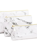 cheap -3pcs Travel Organizer Cosmetic Bag Travel Toiletry Bag Large Capacity Washable Travel Storage Durable Marble PU Leather For Portable Foldable Luggage
