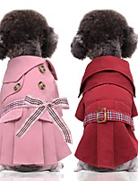 cheap -Dog Cat Coat Dress Bowknot Casual / Daily Dog Clothes Red Pink Costume Fabric XS S M L XL XXL