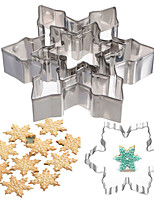 cheap -5pcs / set Christmas Stainless Steel Snowflake Cookie Molds Cake Cutter Cookie Molds Fondant Ice Cube Mold Xmas Baking Mold