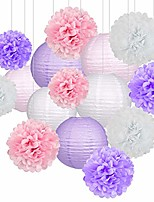 cheap -15pcs party pack paper lanterns and pom pom balls hanging decoration for bridal shower wedding birthday baby shower-light pink/lavender/white