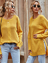 cheap -Women's Sweater High Split Crew Neck Solid Color Sport Athleisure Pullover Long Sleeve Warm Soft Oversized Comfortable Everyday Use Daily Exercising