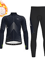 cheap -21Grams Men's Long Sleeve Cycling Jersey with Tights Winter Fleece Polyester Black Polka Dot Gradient Bike Clothing Suit Thermal Warm Fleece Lining Breathable 3D Pad Warm Sports Polka Dot Mountain
