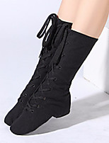 cheap -Women's Ballet Shoes Boots Flat Heel Canvas Black