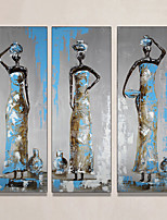 cheap -Oil Painting Hand Painted - Abstract People Modern Rolled Canvas (No Frame) / Three Panels