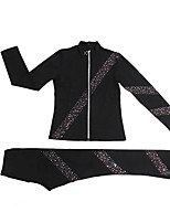 cheap -Figure Skating Jacket with Pants Women's Girls' Ice Skating Pants / Trousers Top Black Pink Glitter Spandex Stretchy Training Skating Wear Warm Handmade Crystal / Rhinestone Long Sleeve Ice Skating