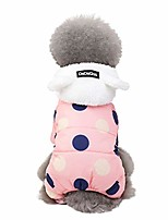 cheap -pet dog hooded snowsuit for small dogs fleece dot printed warm winter coat puppy cat outfits jumpsuit (xl, pink)