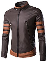 cheap -x men vintage faux leather motorcycle jacket brown us xs (asian m)