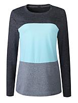 cheap -Women's T-shirt Striped Long Sleeve Print Round Neck Tops Slim Basic Basic Top Blue Red Orange