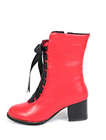 cheap -Women's Boots Block Heel Pointed Toe Casual Basic Daily Solid Colored PU Booties / Ankle Boots Walking Shoes Black / Red / White / Black