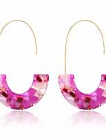 cheap -acrylic earrings statement tortoise hoop earrings resin wire drop dangle earrings fashion jewelry for women (pink)