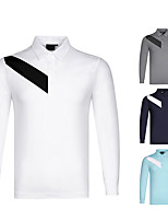 cheap -Men's Golf Polo Shirts Long Sleeve Autumn / Fall Spring Winter UV Sun Protection Breathable Quick Dry Cotton White Dark Blue Gray / Stretchy