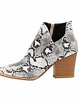 cheap -ankle boots for women fall booties chunky stacked mid heel v cutout leopard boots pointed toe western boots (snakeskin pattern,7.5 m us)