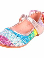 cheap -girls toddler princess glitter rainbow sequins sparkling wedding party school flat dress mary jane shoes ballerina flats pink 30