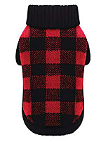 cheap -red black buffalo dog sweater british plaid knitted xmas holiday festive turtleneck pet sweater,large & # 40; l& #41; size