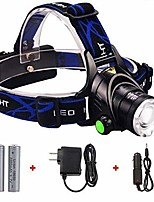 cheap -2000 lumens led headlamp light - waterproof 3-modes flashlight & strobe, rechargeable batteries, adjustable headband, for hunting, hiking, biking, camping (black/yellow)