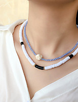 cheap -Women's Choker Necklace Beaded Necklace Handmade Friends Gemini Lucky Aquarius Blessed Simple Luxury Ethnic Fashion Crystal Silicone Stone Black Blue 40 cm Necklace Jewelry 2pcs For Gift Street