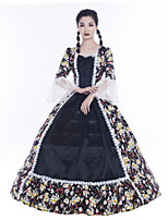 cheap -Maria Antonietta Retro Vintage Rococo Vacation Dress Dress Masquerade Women's Lace Satin Costume Black Vintage Cosplay Party Prom Long Sleeve Floor Length Ball Gown Plus Size