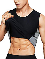 cheap -neoprene sauna vest waist training hot sweat vest for men body shaper tank top workout compression shirt (xxx-large) black