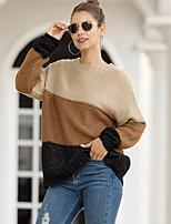 cheap -Women's Basic Knitted Rainbow Pullover Long Sleeve Loose Sweater Cardigans Crew Neck Round Neck Fall Winter Black Purple Khaki
