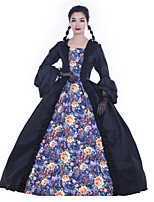 cheap -Maria Antonietta Retro Vintage Rococo Vacation Dress Dress Masquerade Women's Satin Costume Black Vintage Cosplay Party Prom Long Sleeve Floor Length Ball Gown Plus Size