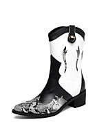 cheap -Women's Boots Block Heel Pointed Toe Casual Basic Daily Leather Mid-Calf Boots Walking Shoes Black