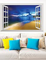 cheap -Landscape Blue Beach Ocean View Wall Stickers 3D Wall Stickers Decorative Wall Stickers PVC Home Decoration Wall Decal Wall Decoration 1pc