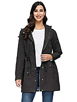 cheap -long raincoat women fall lightweight women's rain jacket long style black xl