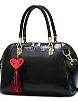 cheap -Women's Bags PU Leather Top Handle Bag Tassel Zipper for Daily / Date Earth Yellow / Black / Blue / Purple / Red