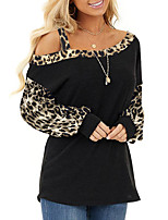 cheap -Women's T-shirt Leopard Cheetah Print Long Sleeve Patchwork Print Off Shoulder Tops Basic Basic Top Black