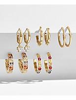 cheap -5 paris cubic zirconia hoop earrings tiny small hoop earrings set gold plated rainbow crystal huggie dangle earrings for women girls (colorful set)
