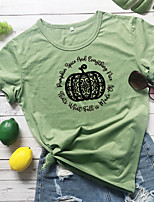 cheap -Women's Halloween T-shirt Graphic Prints Pumpkin Print Round Neck Tops 100% Cotton Basic Halloween Basic Top White Yellow Wine