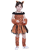 cheap -Tiger Dress Cosplay Costume Party Costume Kid's Girls' Cosplay Vacation Dress Halloween Halloween Festival / Holiday Polyester Brown Easy Carnival Costumes / Gloves / Headwear / Gloves / Headwear