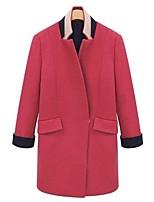 Недорогие -Жен. Наступила зима Воротник-стойка Пальто Длинная Однотонный Повседневные Классический Шерсть Красный S M L XL