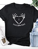 cheap -Women's Halloween T-shirt Heart Skull Letter Print Round Neck Tops 100% Cotton Basic Halloween Basic Top White Black Blushing Pink