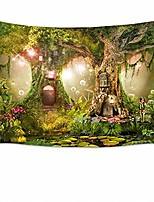 cheap -fairy tale forest tapestry wall hanging lotus pond magic trees houses in dreamland tapestry for kids girls bedroom living room dorm decor birthday party backdrop,60wx40h inches