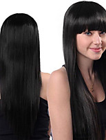 cheap -Synthetic Wig Straight Neat Bang Wig Very Long Black Synthetic Hair Women's Fashionable Design Party Classic Black