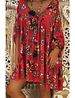 cheap -Women's Swing Dress Short Mini Dress - 3/4 Length Sleeve Print Print Fall V Neck Casual Slim 2020 Black Blue Purple Red Green S M L XL XXL 3XL 4XL 5XL