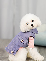 cheap -Dog Coat Vest Solid Colored Casual / Sporty Fashion Casual / Daily Winter Dog Clothes Breathable Black Purple Blue Costume Jeans S M L XL XXL