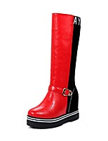 cheap -Women's Boots Wedge Heel Round Toe Classic Daily Color Block PU Mid-Calf Boots White / Black / Red