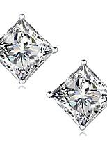 "cheap -""stunning flame"" 18k gold plated silver princess cut simulated diamond cz stud earrings, 1.6ct"
