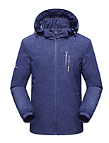 cheap -Men's Hiking Jacket Winter Outdoor Solid Color Waterproof Windproof Breathable Warm Jacket Full Length Hidden Zipper Hunting Fishing Climbing Black Blue Grey / Camping / Hiking / Caving
